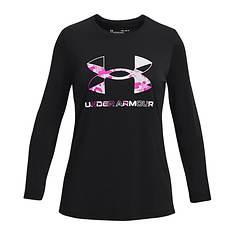 Under Armour Girls' Tech Graphic Print Fill Black Long Sleeve