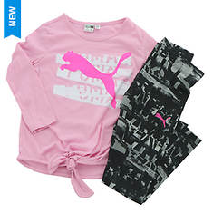 PUMA Girls' Long Sleeve Tee and Legging Set