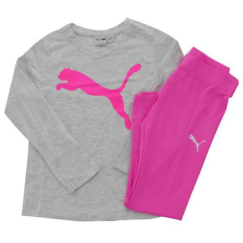 PUMA Girls' Long Sleeve Tee and Legging Set