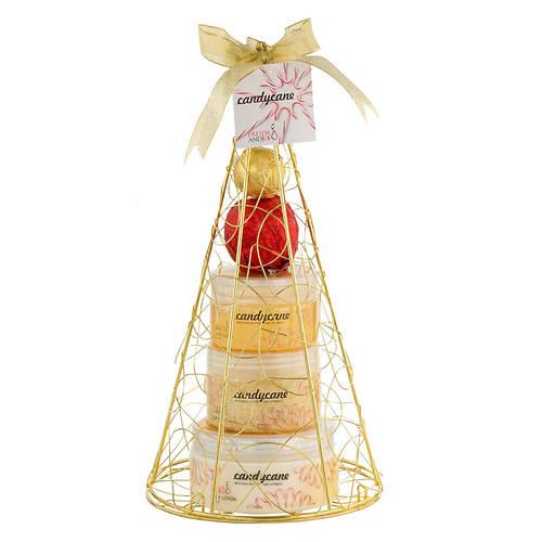 Freida and Joe Candy Cane Gold Iron Plated Christmas Tree Bath and Body Perfumed Gift Set