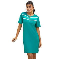 Quarter Zip Striped Track Dress