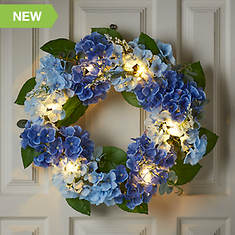 Lighted Indoor/Outdoor Flower Wreath