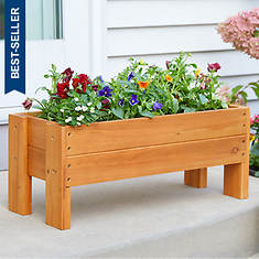 Raised Wood Planter Box with Liner