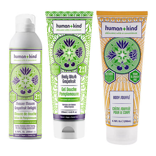 Human+Kind Shower Mousse, Body Wash and Souffle Kit