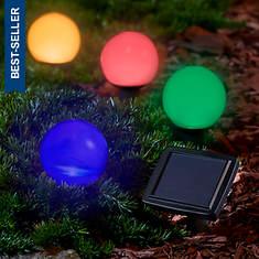 4-Pk. Solar 30mm Ball Stake Light Set