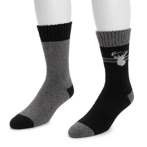 MUK LUKS Men's 2 Pair Pack Wool Socks