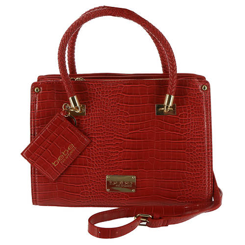 Bebe Bella Croco Med Satchel w/Card Case