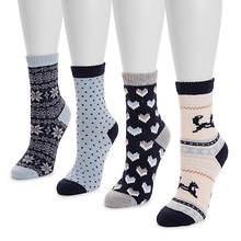 MUK LUKS Women's 4-Pack Holiday Boot Socks
