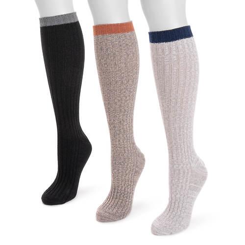 MUK LUKS Women's Fluffly Knee High Slouch Socks