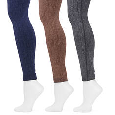 MUK LUKS Women's 3-Pack Fleece-Lined Legging
