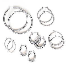 6 pair Hoop Earring Set