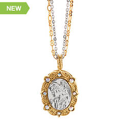 14K Gold- & Silver-Tone Symbols of Faith Angel Locket