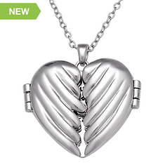 Open Wings Heart Message Pendant