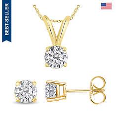 14K .10 ct. tw. Diamond Solitaire Necklace & Earrings Set