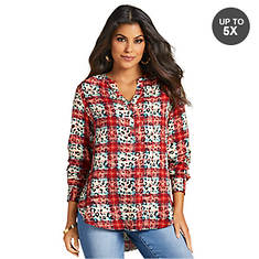 Button-Front Peasant Top