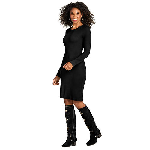 Figure-Flattering Rib-Knit Dress