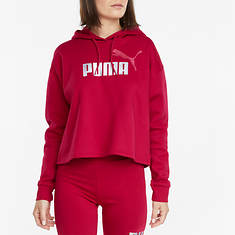 PUMA Women's Essential Metallic Logo Cropped Fleece Hoodie