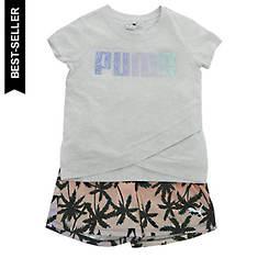 PUMA Girls' SS Fashion Tee/Mesh Short Set
