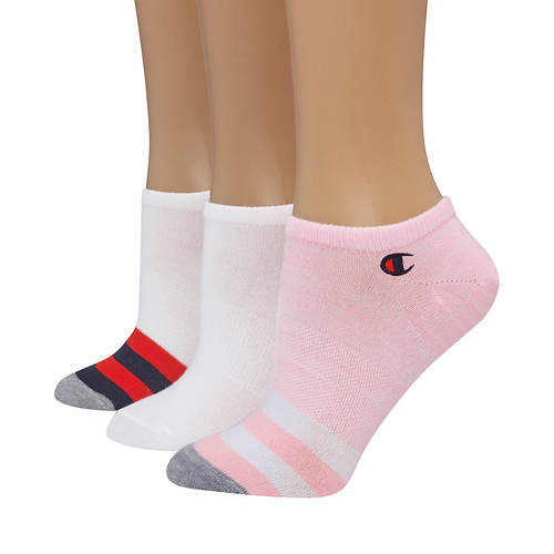 Champion® Women's Embroidered Logo Super No-Show Socks  3-Pack