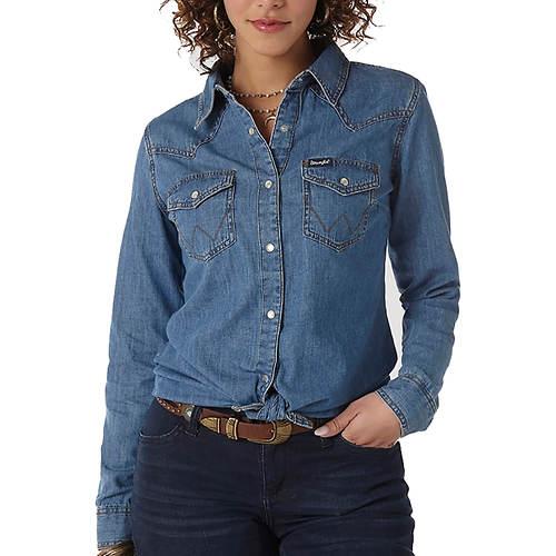 Wrangler Women's Western Snap Denim Shirt