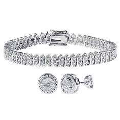 Sterling Silver Diamond Accent Tennis Bracelet Set