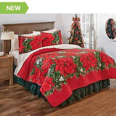 Poinsettia Garden Quilt Set