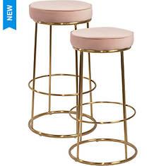 2-Piece Velvet Modern Barstool Set - Opened Item
