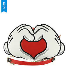 Loungefly Mickey & Minnie Heart Hands Crossbody Bag