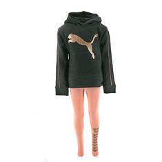 PUMA Girls' PO Metallic Hoodie and Legging Set