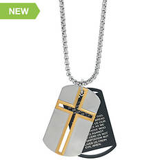 Stainless Steel Cross and Prayer Dog Tag Necklace