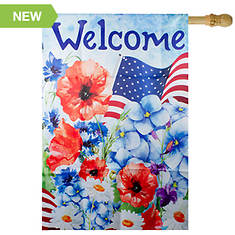 Northlight Welcome Patriotic Floral House Flag