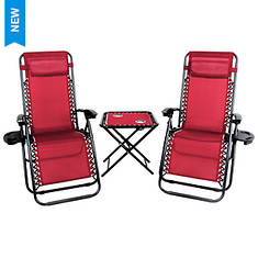 Patio Premier 3-Piece Zero Gravity Chair & Table Set