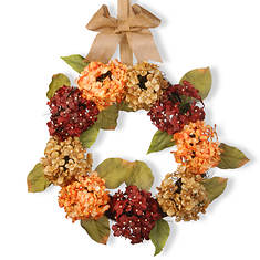 """National Tree Company 24"""" Mixed Hydrangea Wreath"""