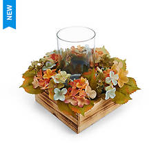 """Elements 13"""" Fall Floral Hurricane Lamp"""