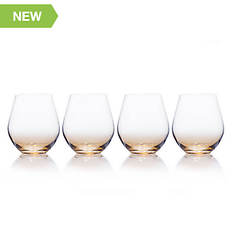 Mikasa 4-Piece Amber Stemless Wine Glass Set