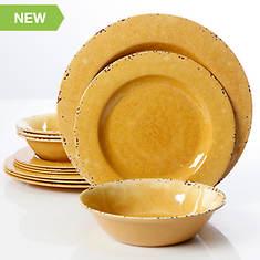 Gibson 12-Piece Yellow Mauna Crackle Melamine Dinnerware Set