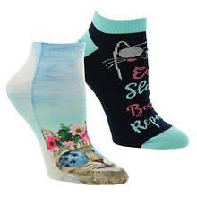 Skechers Women's S115264 Low Cut Cats 2 Pack Socks