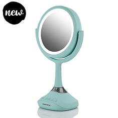 """Ovente 6"""" Portable Table Top Makeup Mirror With Wireless Speaker"""