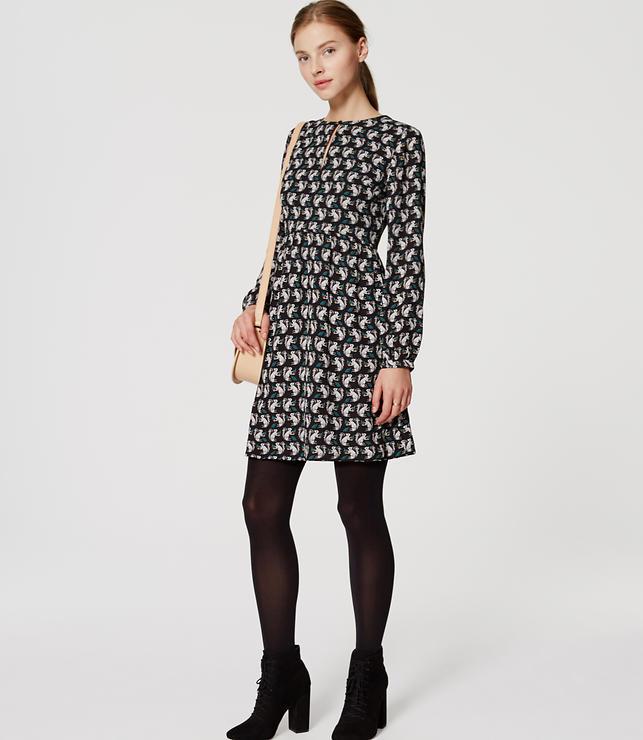 Rochie scurtă, fashion, din poliester, cu imprimeu și mâneci lungi