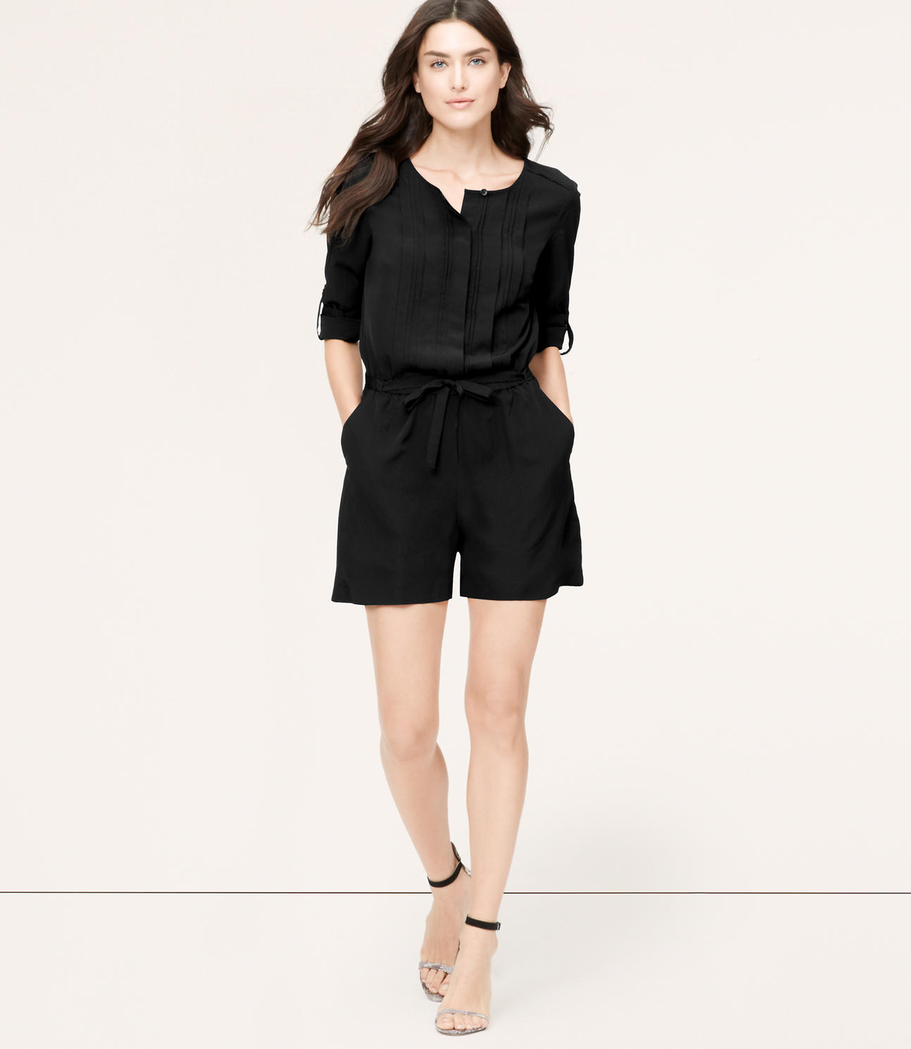 Primary Image of Pleated Romper with 4 Inch Inseam