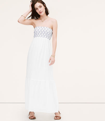 Image of Embroidered Strapless Maxi Dress