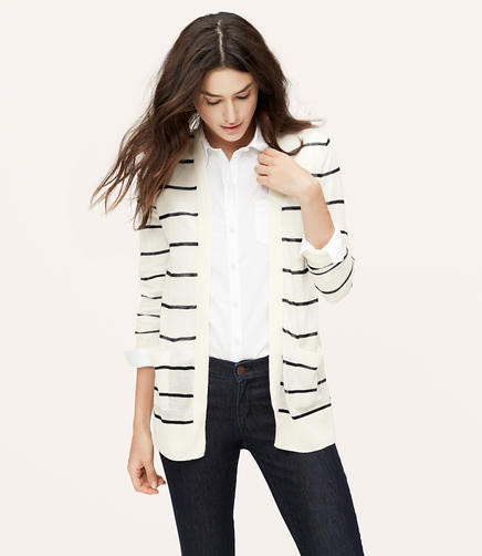 Image of Striped Sheer Open Cardigan