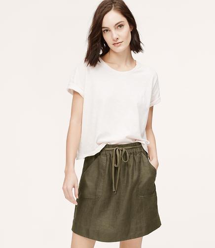 Image of Linen Utility Skirt