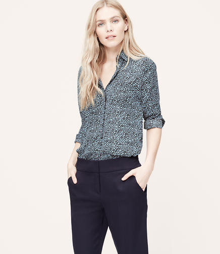 Image of Blurred Floral Utility Blouse