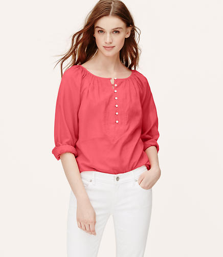 Image of Henley Peasant Blouse
