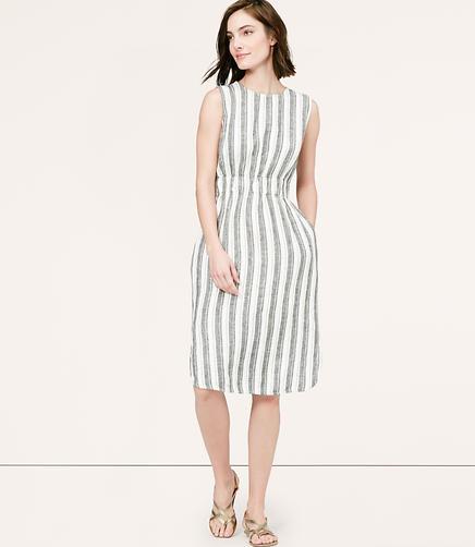 Image of Striped Linen Midi Dress