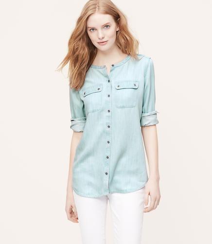 Image of Collarless Chambray Softened Shirt