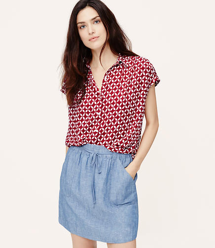 Image of Charm Shirred Short Sleeve Shirt