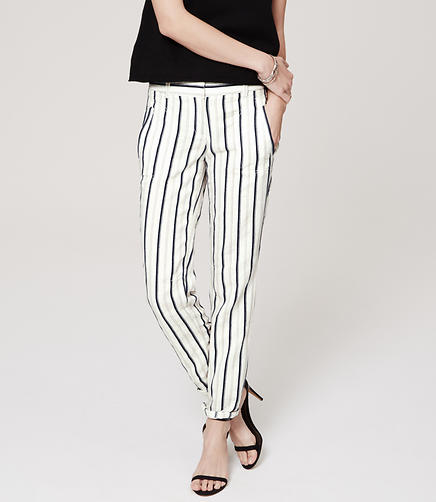 Image of Stripe Twill Relaxed Cropped Pants