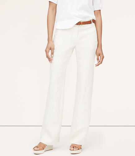 Image of Linen Wide Leg Trousers in Julie Fit